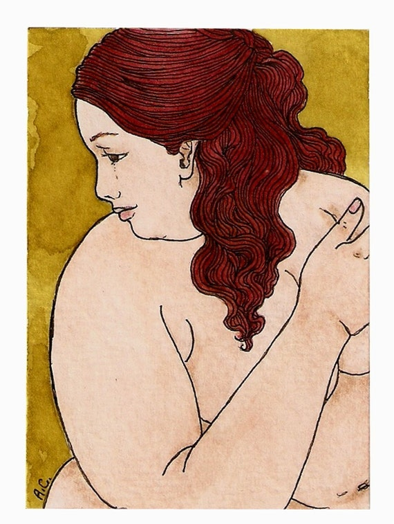 NUDE bbw Fat redhair (5x7 or 8x10 print)