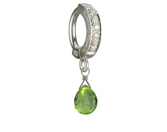 Natural Peridot Drop Charm on Sterling Silver Pave Set Belly Button Ring By TummyToys (63088)