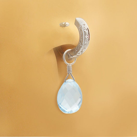 Dangling Natural Blue Topaz Swinger on Pave Set Sterling Silver Clasp By TummyToys (78026 &63071)