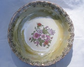 SALE Beautiful Vintage Bowl Iridescent Green with Flowers & Gold Trim