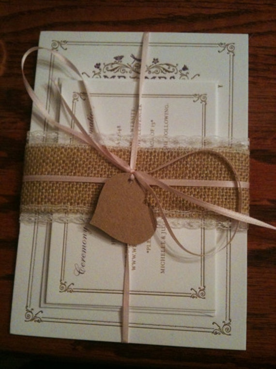 Natural Burlap Ribbon with Cream Lace - 2 inch x 3  yards
