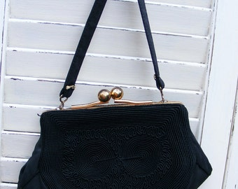 Vintage Black Corde Spiral Patterned handbag