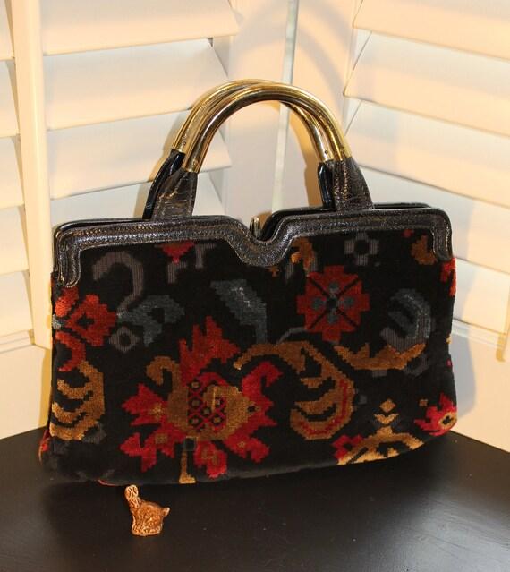 Gorgeous Cara 1950s Cut Velvet Tapestry Handbag