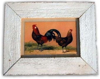 Rooster and Hen Chicken Print Reclaimed Wood Frame CK2