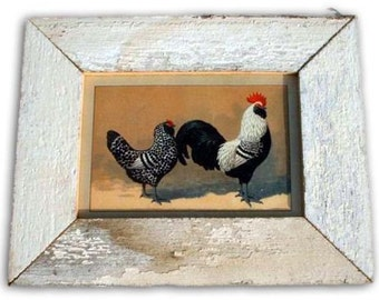 Rooster and Hen Chicken Print Recycled Wood Frame CK3