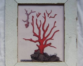 Coastal Sea Coral Print Recycled Wood Frame SEA11