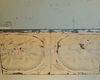 Vintage 2 Ft. RECYCLED Shabby TIN Ceiling Chic Shelf S 345