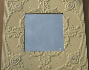 TIN CEILING Mirror Large Square Shabby Recycled CHIC S 384