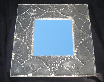 "TIN CEILING Metal Mirror 22.5""x22.5"" Square Black  Shabby Recycled CHIC S 494"