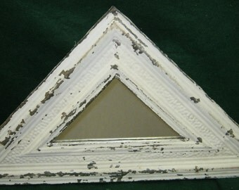 AUTHENTIC Vintage Tin Ceiling Mirror Triangular Shabby Recycled CHIC S 24-12