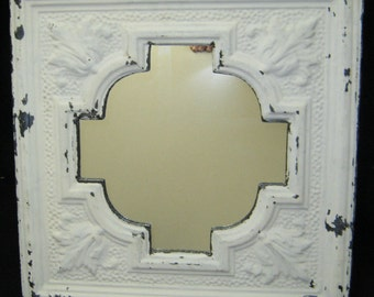 AUTHENTIC Vintage Tin Ceiling Mirror Circle Shabby Recycled CHIC S 51-12