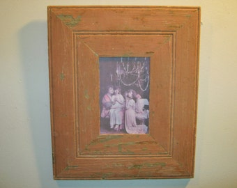 SHABBY ARCHITECTURAL SALVAGED Recycled Wood Photo Picture Frame 4 X 6 Vintage s 521-12