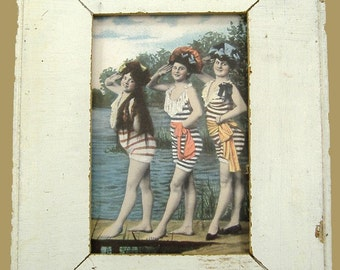 Beach Bathing Beauties Print Recycled Wood Frame