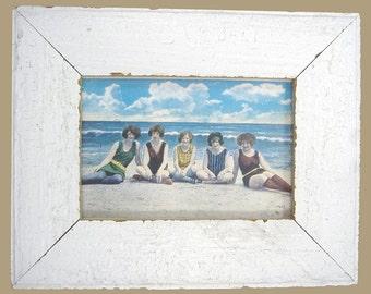 Beach Bathing Beauties Print Recycled Wood Frame