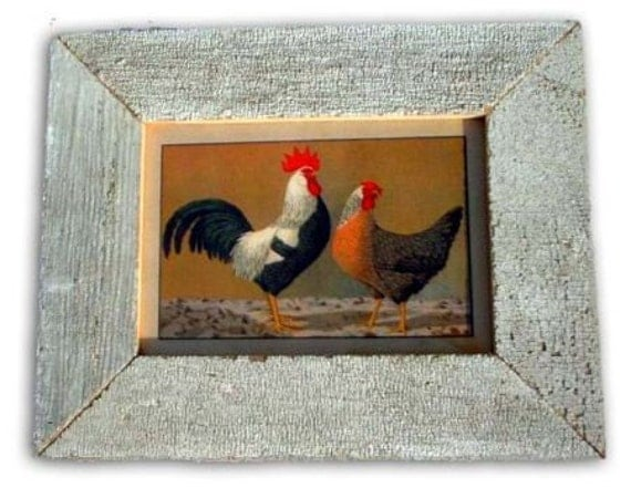 Rooster and Hen Chicken Print Recycled Wood Frame CK1