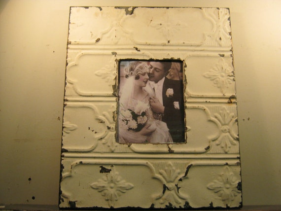 TIN CEILING Picture Frame 8x10 Shabby Recycled chic S-224