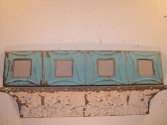 AUTHENTIC Tin Ceiling Quad Four Picture Frame RECLAIMED Photo S392