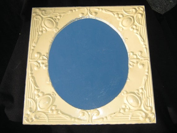 """TIN CEILING  Metal Mirror 22.5""""x22.5"""" Square  Yellow Shabby Recycled CHIC S 488"""