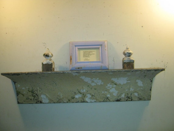 """40"""" Shabby Salvaged Tin SHELF/Mantle  Wall Mount Chic Recycled S 141-12"""