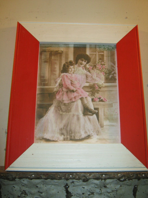 SHABBY ARCHITECTURAL Chic Salvaged Recycled Wood Photo Red/White Picture Frame 8x10 S 185-12