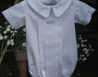 Boys White Pleated Bubble    Great for Christening or Special occassion