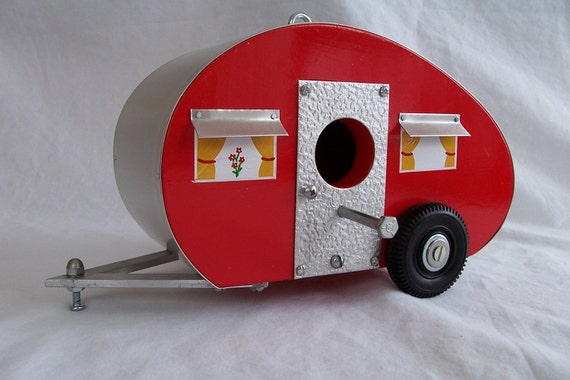 Bird House Camper Travel Trailer Retro Birdhouse Red By