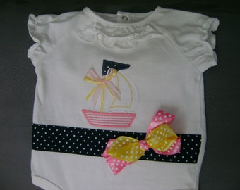 SALE-Baby Girl Sailboat Bodysuit...Size 0-3 month