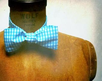 Mens / Boys Bow Tie - Geek Chic Number 4 - Vintage Aqua Gingham Cotton