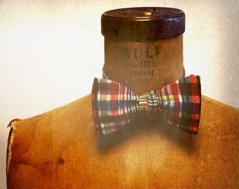 Mens / Boys  Bow Tie - Geek Chic Number 59 -  Cape Cod Chic - Remnant Cranberry and Navy Plaid Cotton