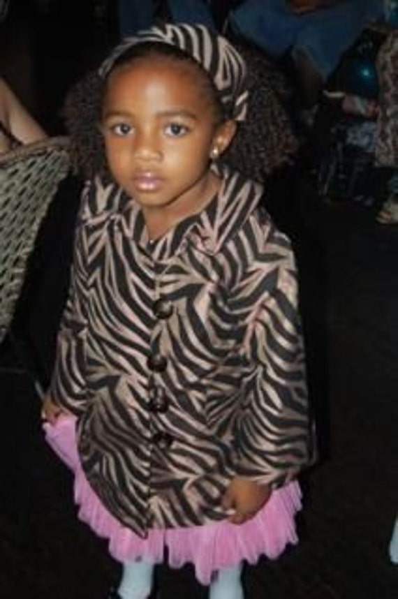Flapper Style Girl's Coat - the Chocolate Zebra - Velvet Flocked Brown Taffeta, with Your Choice of Color Lining - Made to Order