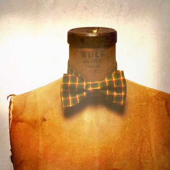 Mens / Boys Bow Tie - Geek Chic Number 42 - Jamaican Plaid - Green and Yellow Plaid