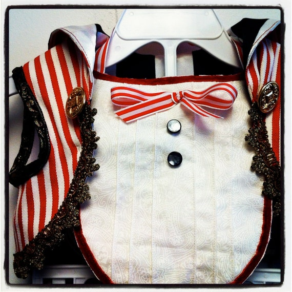 Custom Made Toddler Vintage Style Ring Master Costume - Vest & Tux Bib - Remnant Fabrics and Trims