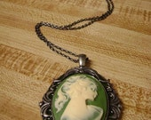 Victorian Style Cameo in Green and Dark Metal