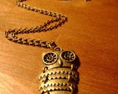 Dark Gold Pieced Owl Necklace