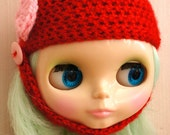 Handmade Blythe helmet hat - Red with pink bow