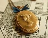 elizabeth bennet - jane austen inspired vintage brass repousse cameo locket with silk ribbon for her