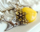 a delicate tattoo - yellow vintage enamel flower and yellow glass heart whitewashed sparrow brass chain necklace