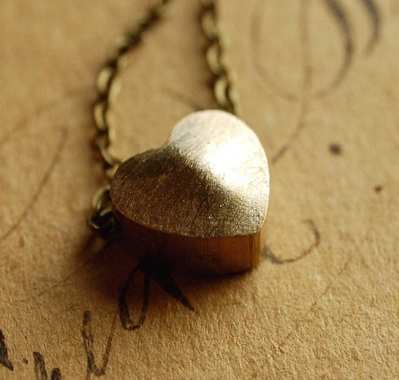 truly - vintage brass heart necklace