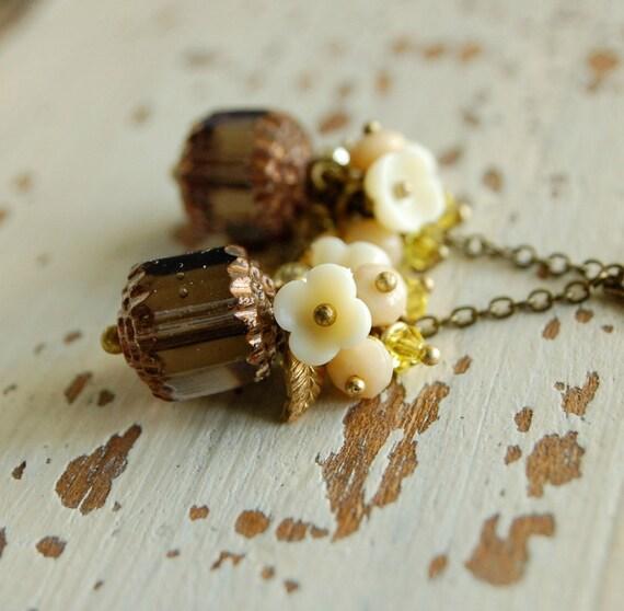 lemon vanilla custard - czech glass swarovski crystal beaded cluster dangle earrings