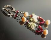 Pearl, garnet, peridot sterling silver EARRINGS.