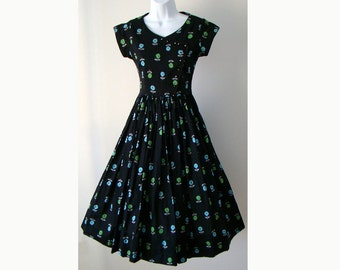 Flower Novelty Print 1950's Party Dress Black XS S