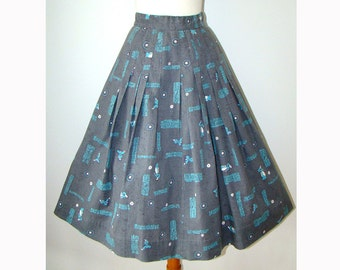 Grey Novelty Print 1950's Skirt