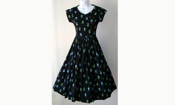Flower Novelty Print 1950's Party Dress Black XS S
