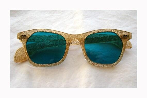 Gold Glitter 1950's Sunglasses with Blue Lenses