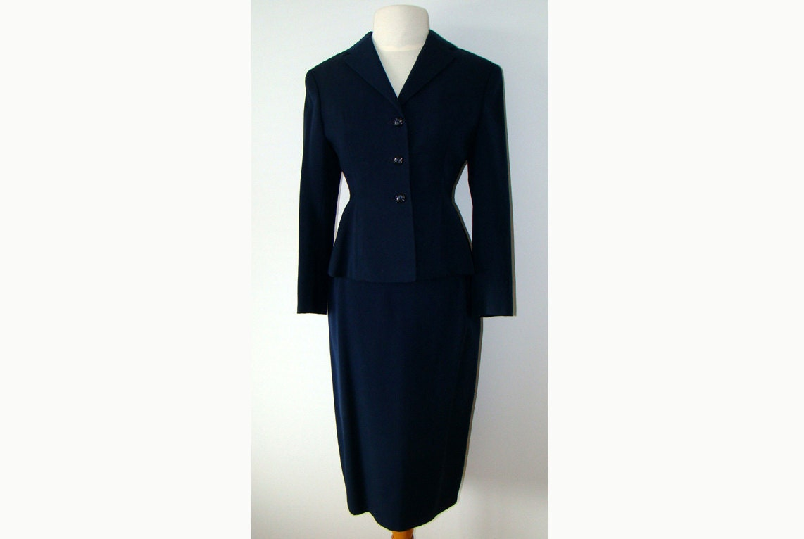 navy blue 1950 s suit jacket skirt by damesvintageclothing
