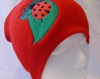 Ladybug on Leaves Beanie Skullcap Hat