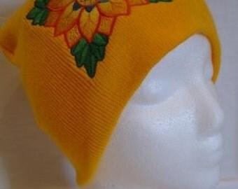 Mexican Sunflower Beanie Skullcap Hat