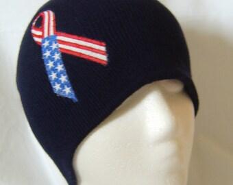 Patriotic American Flag Ribbon Beanie Skullcap Hat