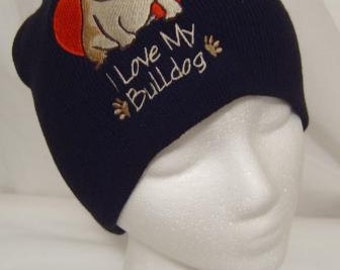 I Love My Bulldog Beanie Skullcap Hat Cap Black