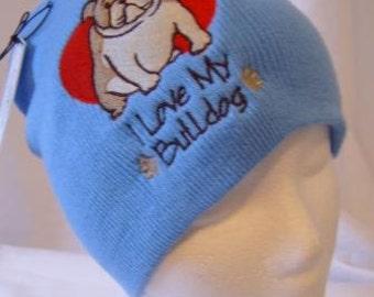 I Love My Bulldog Beanie Skullcap Hat Blue